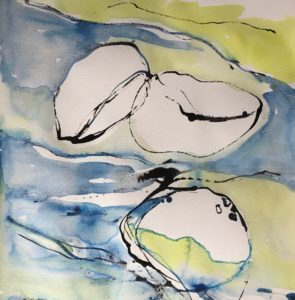 Ur havet manet blå akvarell